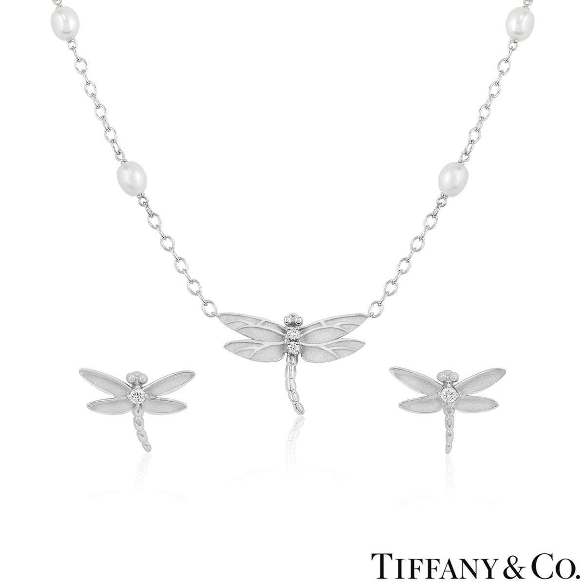 Tiffany & Co. White Gold Diamond Dragonfly Suite